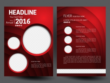 annual report flyer template on 3d red background
