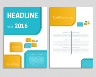 annual report flyer template with bright geometric design