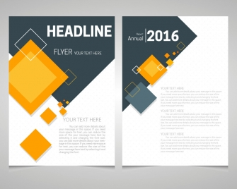 annual report flyer template with lozenge arrangement design