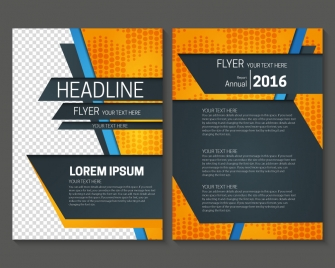 annual report flyer with dark and bright background