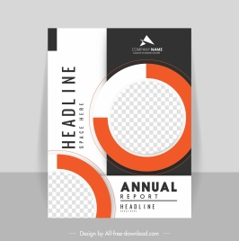 annual report template modern circle checkered decor