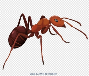 ant insect icon modern closeup 3d brown sketch