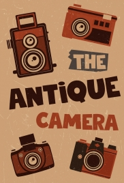 antique camera background brown retro flat design