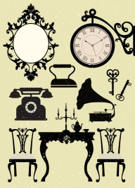 antique devices icons collection black white design