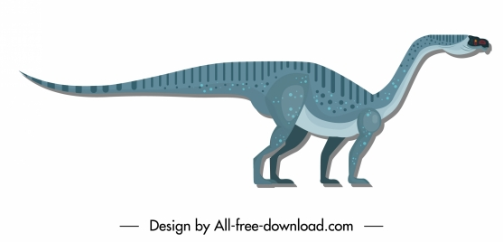 apatosaurus dinosaur icon colored flat classic sketch
