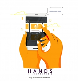 application hands icon digital device sketch