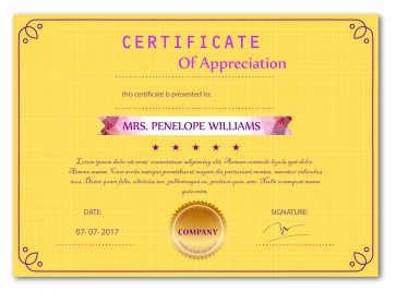 appreciation certificate vector illustration with yellow background