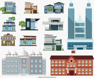 architectural buildings icons colored modern design