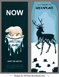 arctic protection banners white bear silhouette reindeer sketch