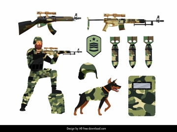 army equipment design elements camouflaged decor