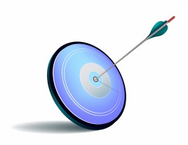 Arrow hit the center of a blue target
