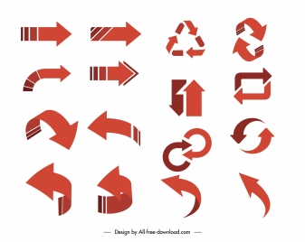 arrow signs icons dynamic flat 3d sketch