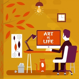 art life drawing working man icon colored cartoon