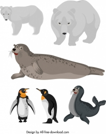 artica animal icons bear seal penguin sketch