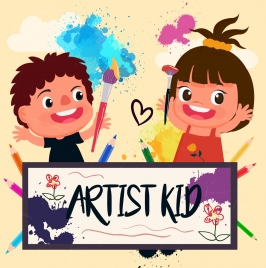 artist background joyful kids icons grunge colorful design