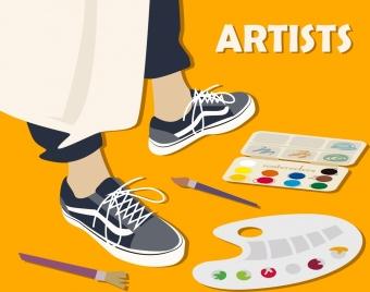 artist work background brush human legs paint icons