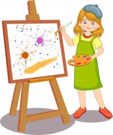 artist work drawing cute female painter grunge painting