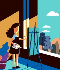 artistic drawing woman easel icon colored cartoon design