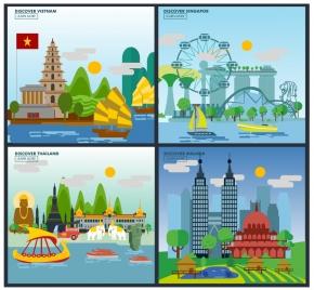 asia travel design concept with colorful landscape illustration