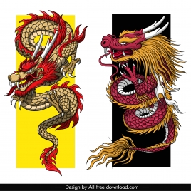 asian dragon icons colorful retro sketch