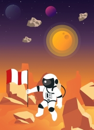astrology background astronaut flag planets icons cartoon design