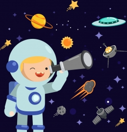 astrology background boy astronaut costume spaceships icons