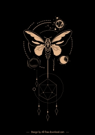 astrology tattoo template dark insect planets polygon design
