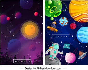 astronomy background templates colorful design astronaut planets icons