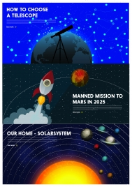 astronomy banner with planets and spaceship design