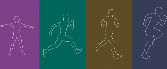 athletic icons outline various activities flat silhouette design