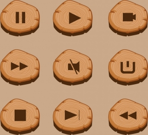audiovisual sign buttons collection timber ornament