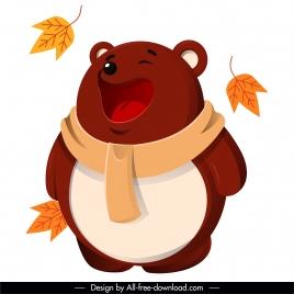 autumn animal icon stylized funny bear sketch