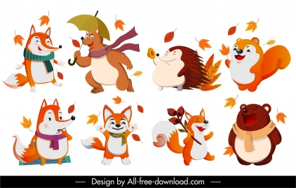 autumn animals icons stylized cartoon characters sketch