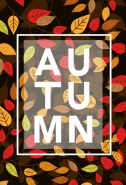autumn backdrop leaf icons multicolored dark design