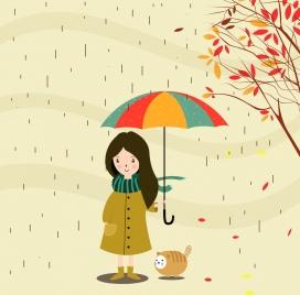 autumn background cartoon manner little girl under rain