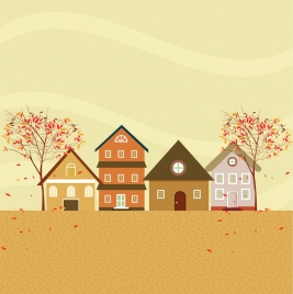 autumn background colorful houses falling leaves decoration