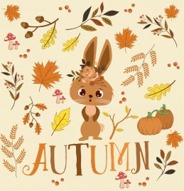 autumn background cute rabbit leaves icons ornament
