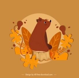 autumn background dark brown bear leaves decor