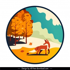 autumn background fox trees sketch circle isolated
