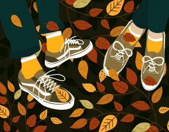 autumn background legs shoes falling leaves icons