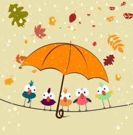 autumn background perching birds falling leaves umbrella icons