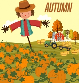 autumn background pumpkin farm dummy icons cartoon design