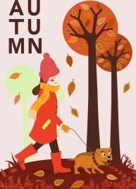 autumn background walking woman pet trees cartoon design