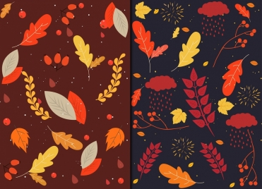 autumn backgrounds leaves icons classical dark multicolored decor