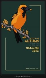 autumn banner template perching bird sketch dark retro