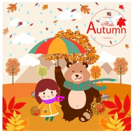autumn celebration background with girl and bear design