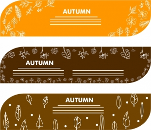autumn decoration banners sets leaves and flower design