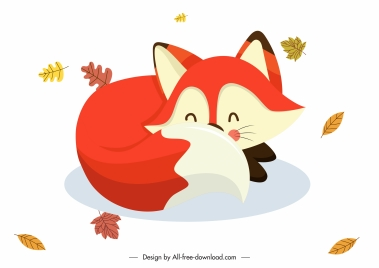 autumn design element cute cartoon fox sketch