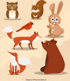 autumn design elements animal icons cartoon design