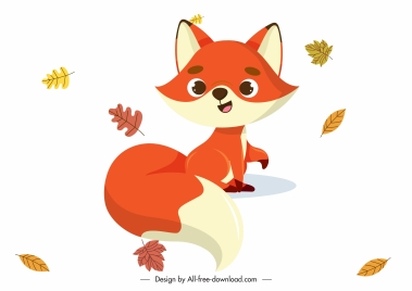 autumn design elements cute fox falling leaves sketch